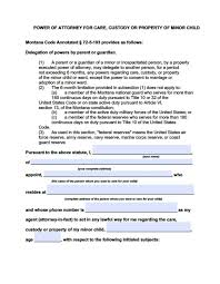 Power Of Attorney For Child Care Montana Minor Child Power Of Attorney Form Power Of