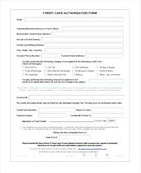 Generic Credit Card Authorization Form Sample Third Party ...