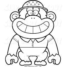 Small Picture Clipart of a Coloring Page Black and White Chimpanzee Explorer by