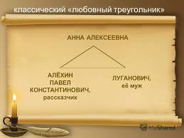Презентация на тему Любовь как поединок роковой по рассказам  5 классический любовный треугольник АННА АЛЕКСЕЕВНА АЛЁХИН ПАВЕЛ КОНСТАНТИНОВИЧ рассказчик ЛУГАНОВИЧ её муж