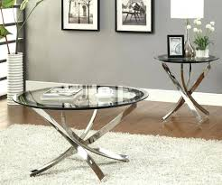 glass end tables round clear glass coffee table with curved nickel base and end for