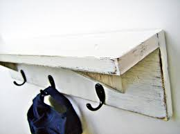 24 Inch Coat Rack Wood Wall Shelf with hooks ANTIQUE WHITE 100 inch Rustic Coat 29