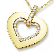 0 36 carat heart shaped yellow golden pendant with small round diamonds baunat