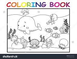 Kids Coloring Page Cute Sea Animal Stock Vector 663077692 ...