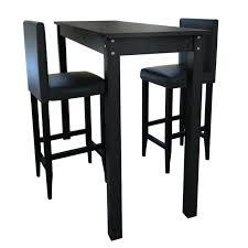 Table Cuisine Noir Set De 1 Table Bar Et 2 Tabourets Noir Table Noir