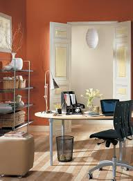 Office:Exciting Small Home Office Interior With Orange Wall Paint Wall And  Oval Office Table