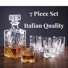 luxury stylish classic authentic whisky decanter set cut glass drinks tumblers