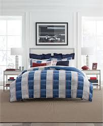 details about tommy hilfiger tenaya blue full queen comforter sham set stripe grey red new
