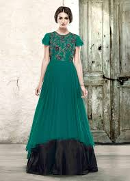 Cheap Designer Gowns Online Teal Green And Black Double Layer Indian Gown In Net