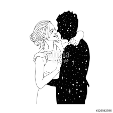 Beautiful Artwork Of Young Couple Kissing Outer Space On Their