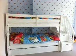 kids bunk bed with stairs. Staircase Bunk Bed, White, Waxed Built In Storage Steps - Bedtime Bedz Kids Bed With Stairs