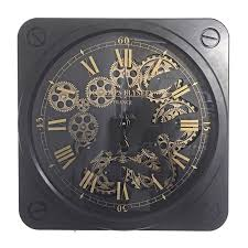 wall clock in steel and glass vintage