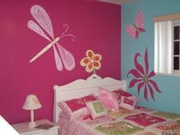 girls room decor ideas painting: charming bedroom wall decorating ideas for teenage girls with light blue pink wall and butterfly flowers