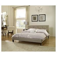 Kassandra Upholstered Tufted Linen Platform Bed  Queen Eco Dream Linen Platform Bed