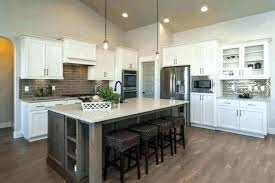 white kitchen grey island exposed brick wall cabinet plain dark oak flooring cabinets with gray i white kitchen