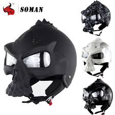 soman skull motorcycle helmet novelty retro casque double lens