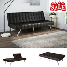 mainstays morgan 2000209w twin size convertible faux leather futon sofa bed brown for