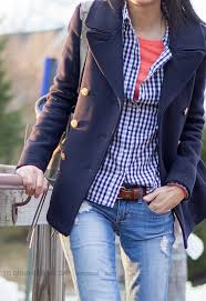 navy peacoat navy gingham shirt orange tee distressed jeans