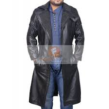 blade runner ryan gosling men s black leather faux fur coat leather coat