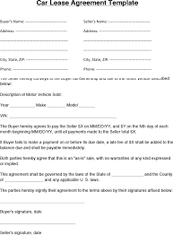 Auto Lease Agreement Template Simple Vehicle Lease Agreement