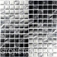 slate silver square glass mosaic