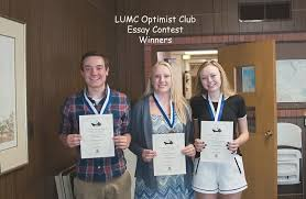 Optimist Essay Contest Winners Of Lumc Optimist Clubs Essay Contest From Left