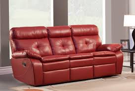 Wallace 2PC Double Reclining Sofa Set in Red Bonded Leather Match (Sofa and  Loveseat) ...