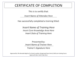 Certificate Of Training Completion Template Certificate Of Completion Template In Word And Pdf Formats