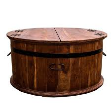 rustic round coffee table with storage for quality wooden indian and asia furniture