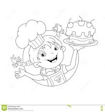 Small Picture Coloring Page Outline Of Cartoon Girl Chef With Cake Stock Vector