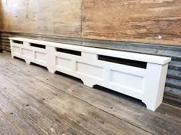 image of custom rustic hot water baseboard heater covers