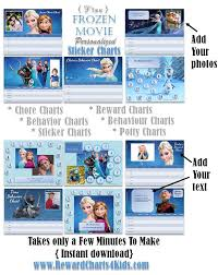 Sticker Chart Extraordinary Frozen Reward Charts Which Can Be Customized With Your Own Photos