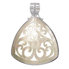 carved mother of pearl shell lotus flower silver pendant w bezel offerings jewelry by sajen