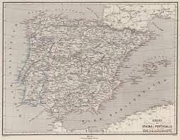 Antica Carta Geografica Spagna e Portogallo - Naymiller - Idea Rare Maps