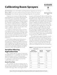 Boom Sprayer Calibration Chart Mf2894 Calibrating Boom Sprayers Ksre Bookstore Manualzz Com