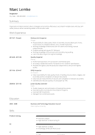 Inspector Resume Samples And Templates Visualcv