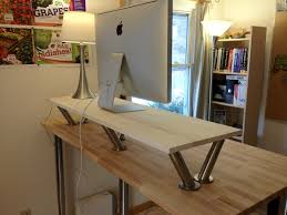 furniture ivory wooden standing desk with chrome base over rectangle ivory wooden table enchanting