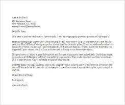part time job resignation letter template