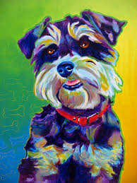 colorful pet portrait miniature schnauzer dog art print by alicia vannoy call