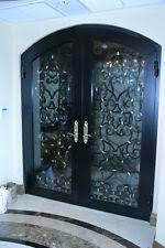 double front doors. Custom Forged, Double Entry Way Doors, Approx. 30 In Width Each, 7 Front Doors E