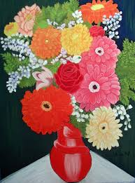 fl painting gerbera daisy bouquet by norma tolliver
