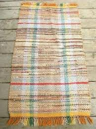 rag rug runner cotton runners vintage woven old kitchen porch orange shades laurel leaf farm item