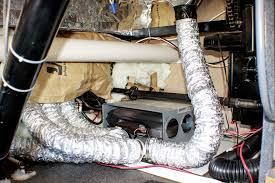 adding a rv comfort systems electric element to a rv furnace the ducting and collars are removed from the rear panel of the furnace to start the
