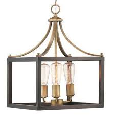 boswell quarter collection 3 light vintage brass pendant with painted black distressed wood accents