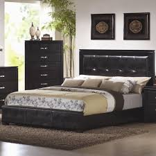 Queen Size Bedroom Furniture Coaster 201401q Black Queen Size Leather Bed Steal A Sofa
