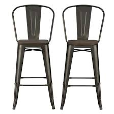 wood metal bar stools. Amazon.com: DHP Luxor Metal Counter Stool With Wood Seat And Backrest, Set Of Two, 30\ Bar Stools