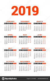 Calendar 2019 Year White Background Week Starts Monday Columns Rows