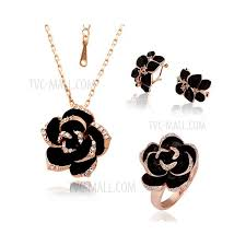 costume fashion jewelry sets with dazzle flash black flower pendant necklace earrings ring for