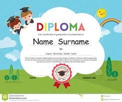 Children Certificate Template Preschool Elementary School Kids Diploma Certificate Background