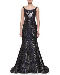 Bergdorf Goodman Designer Evening Gowns Oscar De La Renta Sleeveless Moire Metallic Mermaid Gown